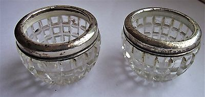 Antique Pair of Cut Crystal Glass Salts With Solid Silver Mounted Rims 1921