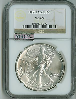 1986 American Silver Eagle $1 Ngc Ms69 Mac Pq Ase Dollar, Key Date, Spotless!