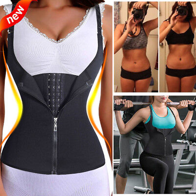 US Womens Waist Trainer Corset For Weight Loss Tummy Shaper Vest Shirt with Zip
