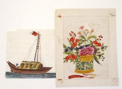 Two antique Chinese 19th century Canton pith paintings