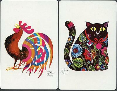 Cat And Rooster Swap Card Pair Very Pretty Artwork On Both (New)