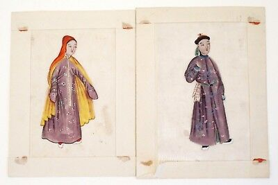 Two antique Chinese 19th century Canton pith paintings - Man and Lady