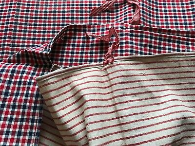 Antique French Small Duvet Cover Kelsch - Red&blue Check Fabric - Red Stripes