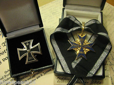 WW1 WWI German Prussian Pour Le Merite Blue Max Iron Cross General Marshall Set