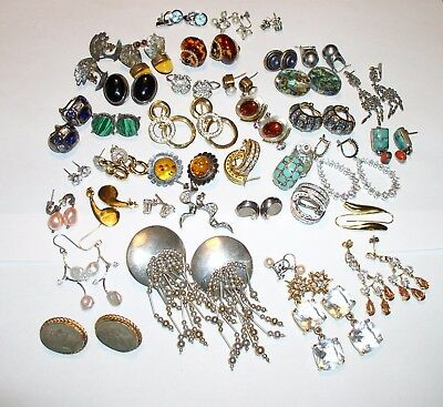 Nice lot of 38 Antique Vintage Modern sterling silver and gold earrings