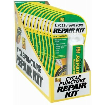 New 151 Cycle Puncture Repair Kit 5 x Patches, Crayon, Chalk, Glue, Sandpaper