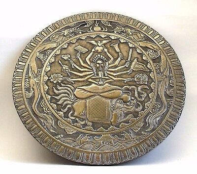 Fine large antique 19th century Chinese Buddhist bronze plaque