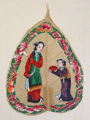 Fine antique Chinese 19th century Canton painting on leaf