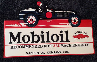 "Vintage Mobil Mobiloil Gargoyle Race Car 16"" X 10"" Metal 2 Side Gas Flange Sign!"