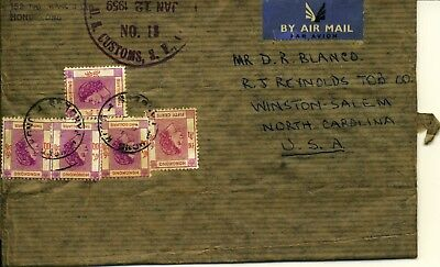 Hong Kong Cover 9 JA 59 Parcel Wrapper to U.S.A. Rated at $8.50