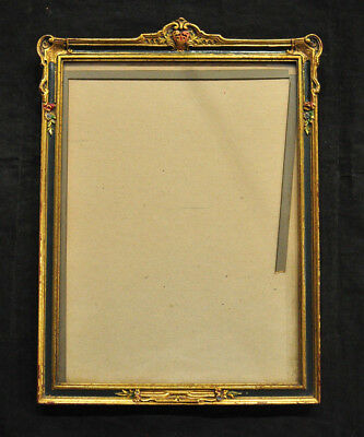 VTG Gold Gilt Art Deco Gothic Regency Mirror or Picture Frame w Painted Flowers