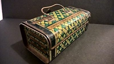 Antique lithographed German tin money box with lid and carry handle Dresden
