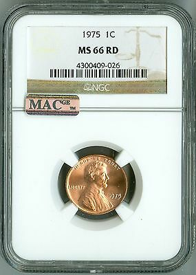 1975 Cent NGC MS66 RD MAC PQ Penny, 2nd Highest Registry, Bright Color & Luster!