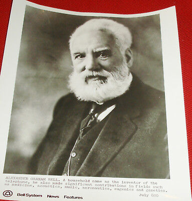 B&W Photograph From Bell System News Features - Alexander Graham Bell!