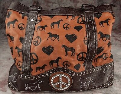 BANDERA large tote HORSES HEARTS PEACE SIGNS rhinestone BROWN camel pleather
