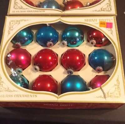 LOT Of 24 VINTAGE SHINY BRITE GLASS CHRISTMAS ORNAMENTS W/ORIGINAL BOXES