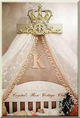 Champagne & Gold Fleur de Lis Bed Crown Canopy Teester / French Chic Party Decor