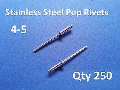 250 POP RIVETS STAINLESS STEEL BLIND DOME 4-5 3.2mm x 11mm 1/8""