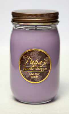 Lavender Vanilla 16oz Mason Jar Highly Scented Papa's Candle Shoppe,Soy Candle