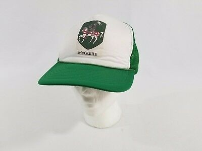 Vintage McGuire Knight Coat of Arms Green White Trucker Hat Clan