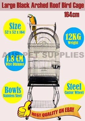 Pet Bird Parrot Canary Cage Stainless Castors Black Arched Open Roof L 164CM