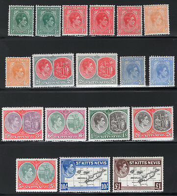 1938 St Kitts & Nevis. SC#79-90 SG#68-77f. Mint, Lightly Hinged, Very Fine.