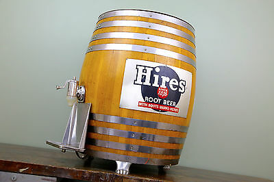 Hires Root Beer Vintage Wood KEG Oak Barrel Soda Fountain Dispenser Tap Sign