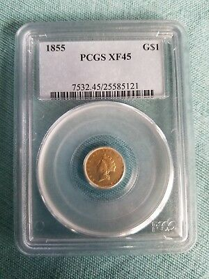 1855 PCGS XF45 $1 Gold Coin Type 2 Indian Princess