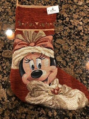 Disney christmas holiday stocking victorian minnie mouse new with tag