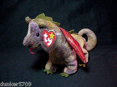 1998 Scorch The Dragon Ty Beanie Baby Pe Pellets Made In China Plush With Tags