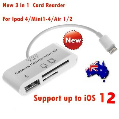 3 in 1 Camera Connection USB /SD/TF Card Reader for iPad 4 Mini Air Pro iOS 12