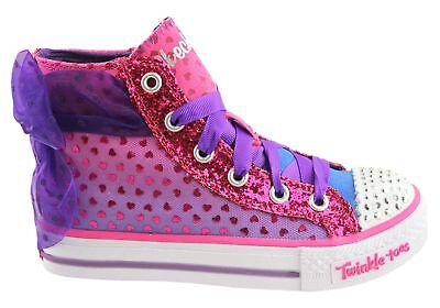 New Skechers Twinkle Toes Shuffles Pixie Bunch Hi Top Shoes