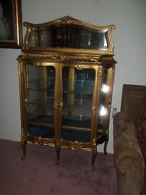 NO SHIPPING-  French Louis XV Style Gold Gilt Curio Cabinet Vitrine Victorian
