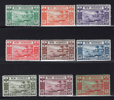 1938 New Hebrides. SC#50-58 SG#F53-F61. Mint, Lightly Hinged, Very Fine.