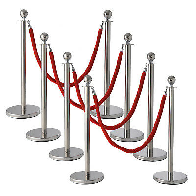 Stanchion Posts Queue Pole Retractable 3 Red Velvet Ropes Crowd Control Barrier
