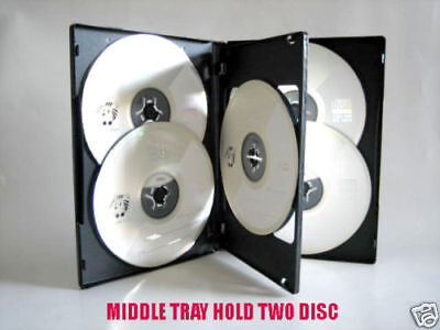 10 Pcs 14Mm 6 Discs Multi Disc Black Cd/dvd Case Hold 6 Disc
