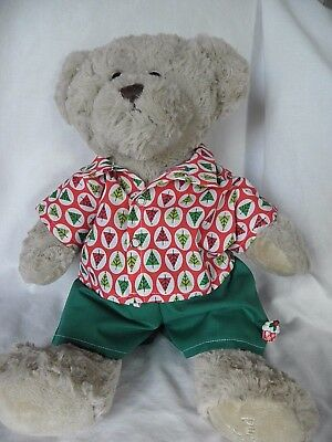 Xmas clothes to fit 15in Pumpkin Patch teddy shirt/ shorts set boys build a bear