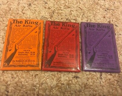 Lot Of 3 Antique King Air Rifle Advertising Pocket Mirrors