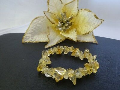 Citrine Gemstone Chip Stretch Bracelet - One Size Fits Most People - AUS SELLER