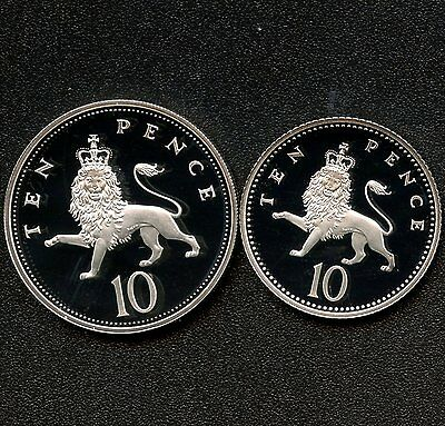 2 Of 1992 Great Britain 10 Pence (11.31 g) & (6.5 g) .925 Silver With Paper