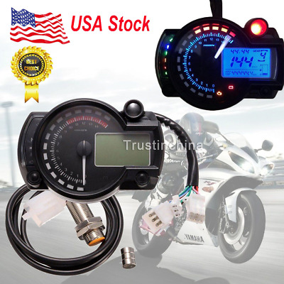 Motorcycle Universal LCD Digital Speedometer Tachometer Odometer Backlight Gauge
