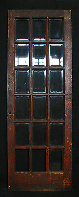 "30""x 84""x1.75"" Antique Vintage Exterior Entry French Oak Door Beveled Glass Lite"