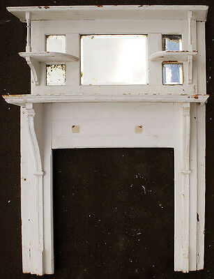 "54""x71"" Antique Victorian Oak Wood Wooden Fireplace Mantel Mantle Beveled Mirror"