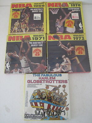 5 x SUPER 8 BASKETBALL HARLEM GLOBETROTTERS, NBA HIGHLIGHTS 1969 1970 1971 1972