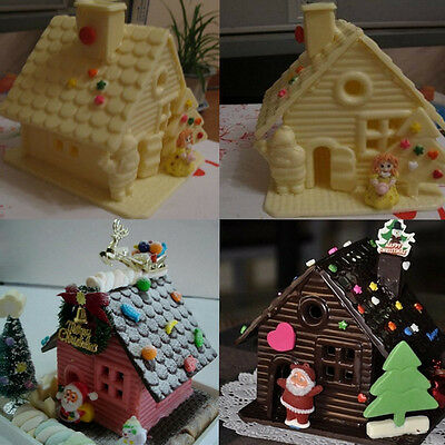 3D House Silicone Fondant Mould Cake Decor Baking Icing Sugarcraft Mold Pop.
