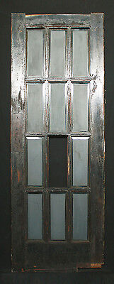 "30""x82"" Antique Vintage Wood Wooden French Swinging Door Beveled Glass Windows"