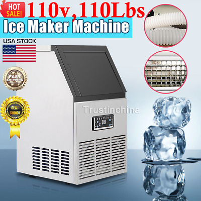 50kg Commercial Ice Maker Cube Machine Built-In Undercounter Freestand 110V 230W