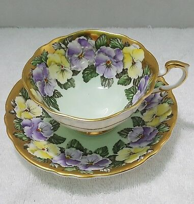 Paragon Pansy Heavy Gold Cup And Saucer