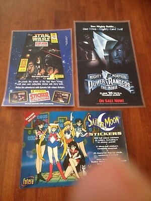 Star Wars, Power Rangers, Sailor Moon Card Promo Posters X3