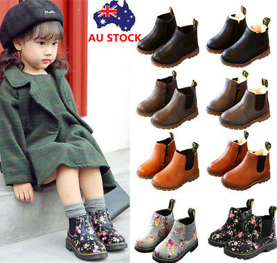 Kids Boy Girl Leather Ankle Chelsea Boots Fur Lined Martin Shoes Snow Boots 4-13